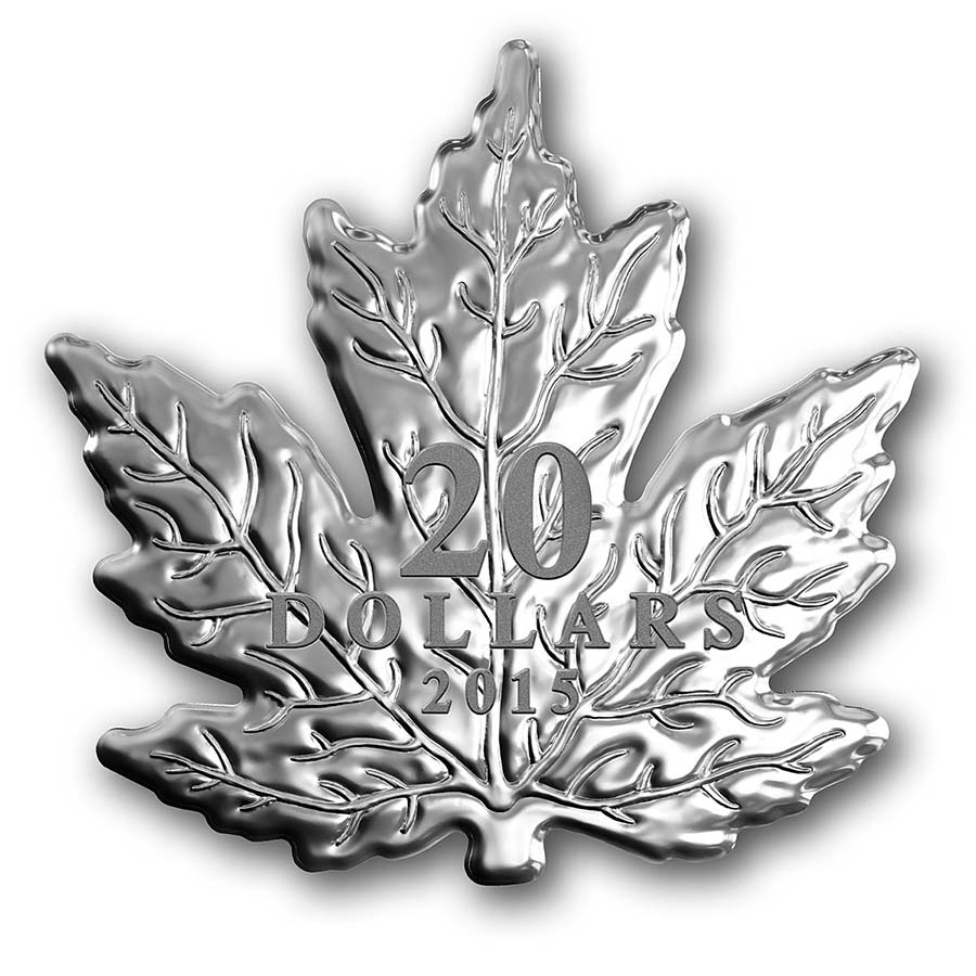 2015 Canada 1 Ounce 20th Anniversary Maple Leaf Shaped Silver Proof Coin