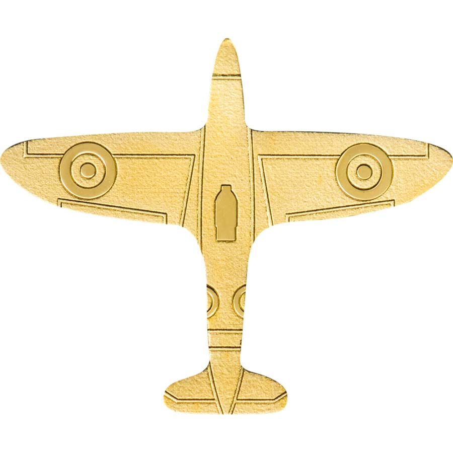 2020 Palau 1/2 Gram Golden Airplane Shaped .9999 Silk Finish Gold Coin