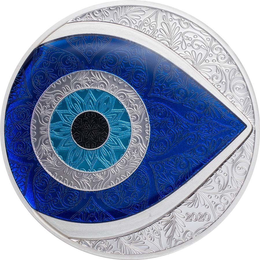 2020 Palau 1 Ounce Evil Eye Colored & Enamelled Silver Proof Coin