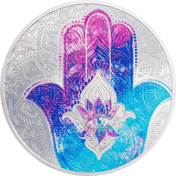 2021 PALAU 1 OUNCE HAND OF HAMSA COLOR SILVER PROOF COIN