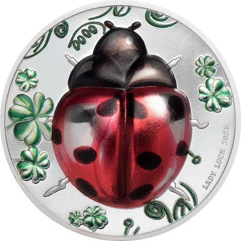 2021 Palau 1 Ounce Lady Luck Lady Bug Ultra High Relief Color Silver Proof Coin