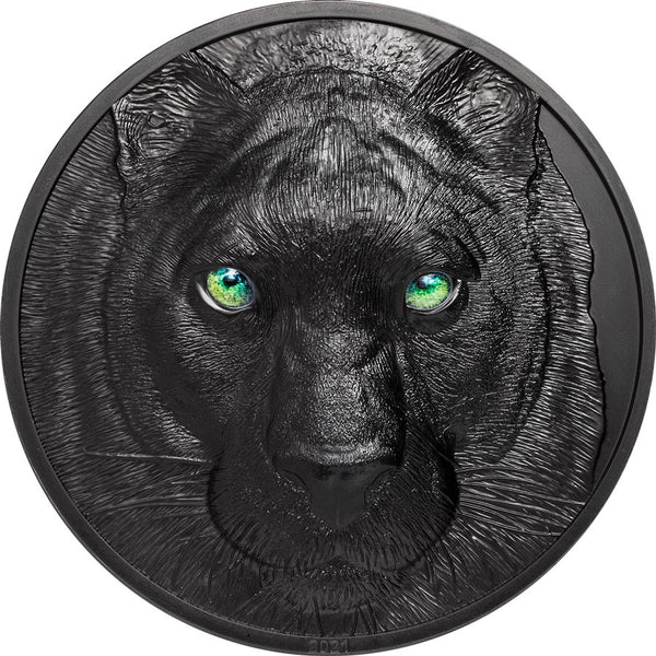 2021 PALAU 1 KILOGRAM HUNTERS BY NIGHT BLACK PANTHER OBSIDIAN SILVER COIN