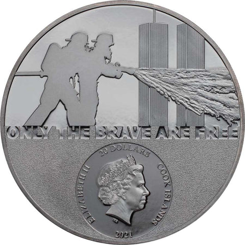 2021 Cook Islands 3 Ounce Real Heroes - Firefighter Ultra High Relief Silver Coin