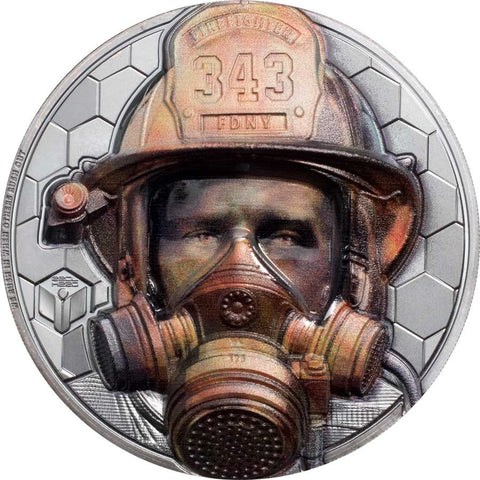 2021 Cook Islands 3 Ounce Real Heroes - Firefighter Ultra High Relief Black Proof Silver Coin