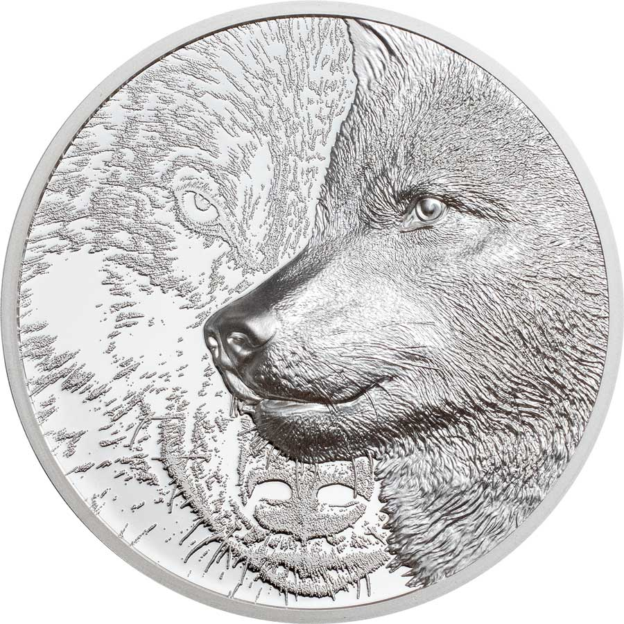 2021 Mongolia 1 Ounce Mystic Wolf Ultra High Relief Silver Proof Coin