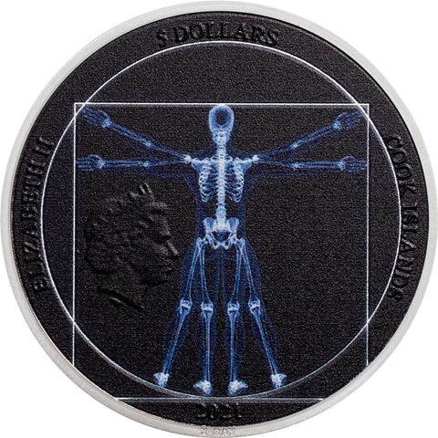 2021 Cook Islands 1 Ounce X-Ray Vitruvian Man Ultra High Relief Silver Coin