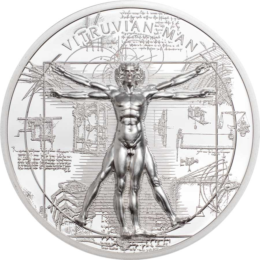 2021 Cook Islands 1 Ounce X-Ray Vitruvian Man Ultra High Relief Silver Proof Coin