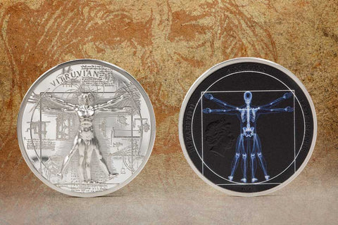 2021 Cook Islands 1 Ounce X-Ray Vitruvian Man Silver Proof Coin