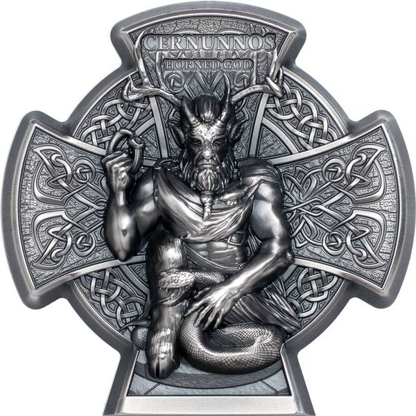 2021 ISLE OF MAN 3 OUNCE CERNUNNOS HORNED GOD HIGH RELIEF ANTIQUE FINISH SILVER COIN