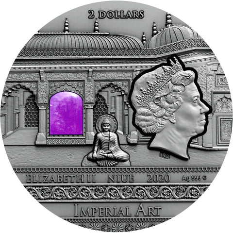2020 Niue 2 Ounce Imperial Art India High Relief Antique Finish Silver Coin