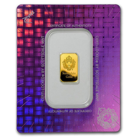 "Scottsdale Mint 2 Gram ""Certi-Lock®"" Gold Bar - In Assay"