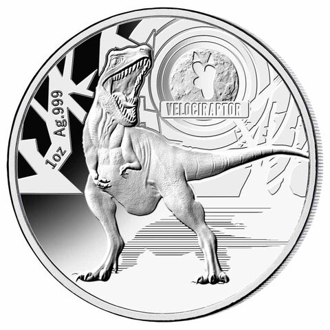 2021 Solomon Islands 1 Ounce Velociraptor Silver Proof Coin