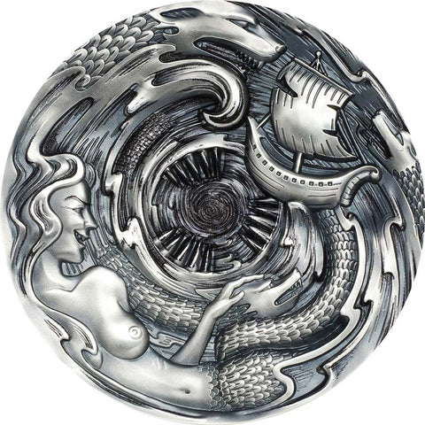 2020 Palau 3 Ounce Scylla and Charybdis High Relief Antique Finish Silver Coin