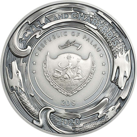 2020 Palau 3 Ounce Scylla and Charybdis High Relief Silver Coin