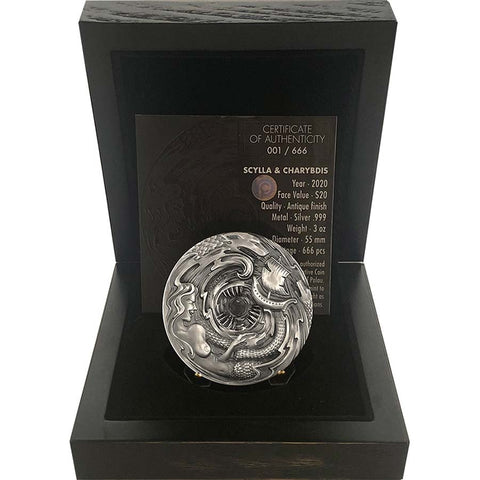 2020 Scylla and Charybdis High Relief Antique Finish Silver Coin