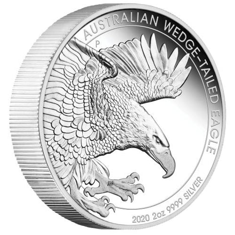 2020 Australia 2 Ounce Wedge Tailed Eagle Piedfort Silver Proof Coin