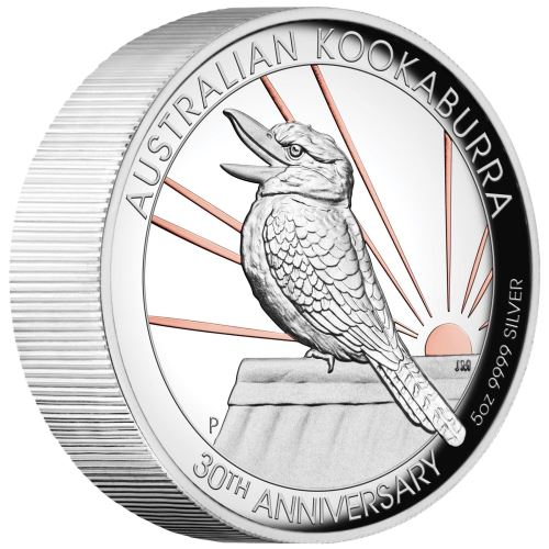 2020 Australia 5 Ounce 30th Anniversary Kookaburra Gilded High Relief Silver Proof Coin