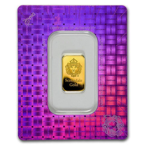 "Scottsdale Mint 5 Gram ""Certi-Lock®"" Gold Bar - In Assay"