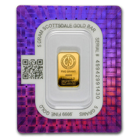 "Scottsdale Mint 5 Gram ""Certi-Lock®"" Gold Bar - Sealed Assay"
