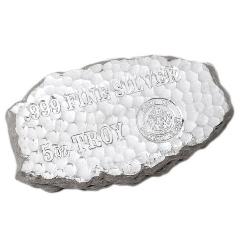 5 Ounce Tombstone Nugget Silver Bar