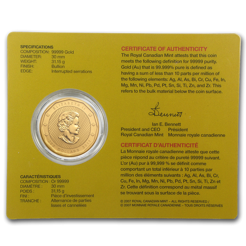2011 .99999 Mountie Maple Leaf Gold Coin