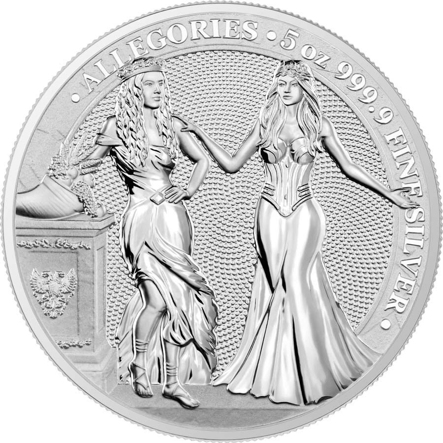2020 Germania 5 Ounce Allegories Italia & Germania 25 Marks Silver Round