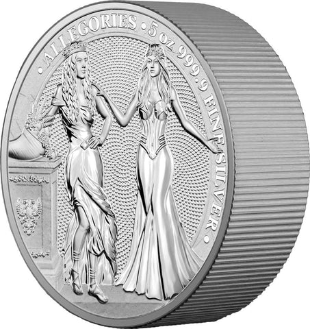 2020 Germania 5 Ounce Allegories Italia and Germania 25 Marks Silver Round