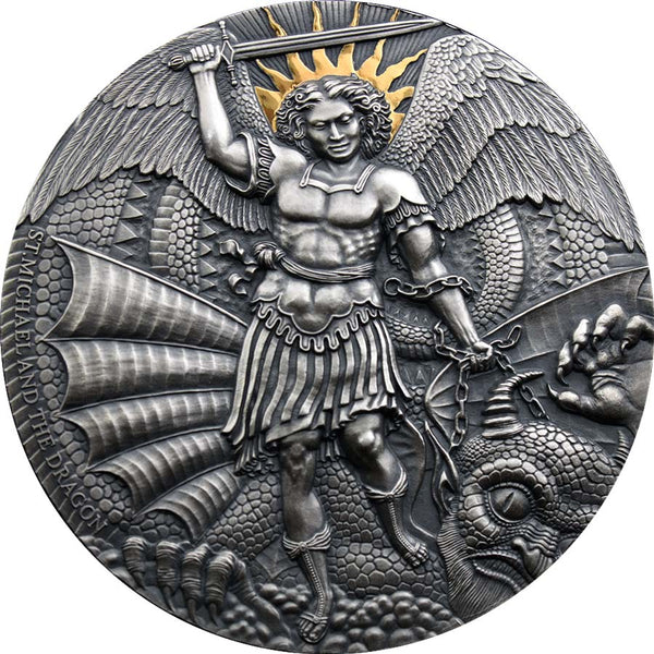 2020 Cameroon 3 Ounce Apocalypse St. Michael & the Dragon High Relief Silver Coin