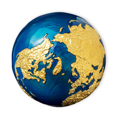 "2021 Barbados 3 Ounce 24K Gold ""Blue Marble"" Spherical Silver Coin"