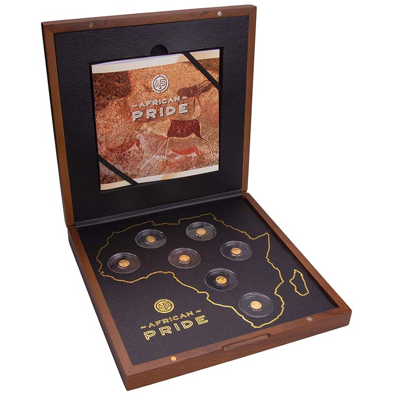2020 African Pride 7 X 1/2 Gram Cradle of Humankind Gold Coin Collection