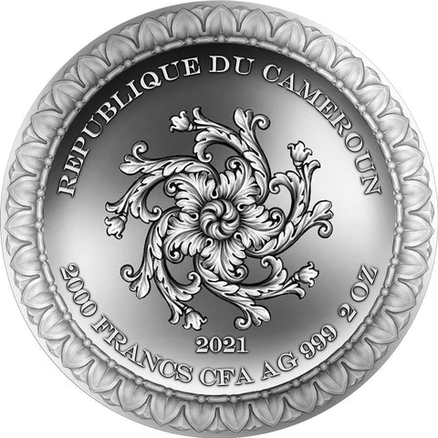2021 Cameroon 2 Ounce Fortuna Celestial Beauty High Relief Silver Coin