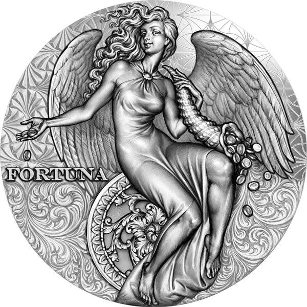 2021 CAMEROON 2 OUNCE FORTUNA CELESTIAL BEAUTY HIGH RELIEF ANTIQUE FINISH SILVER COIN