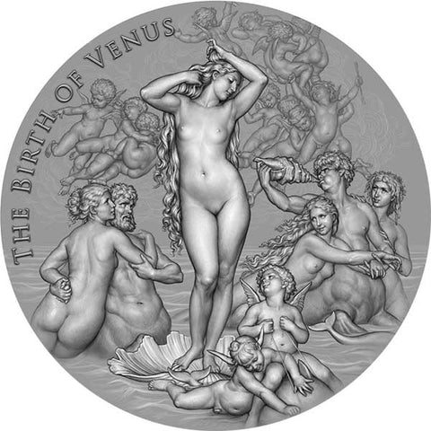 2021 Cameroon 2 Ounce Birth of Venus Celestial Beauty High Relief Antique Finish Silver Coin