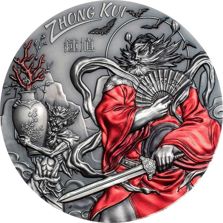 2019 Cook Islands 3 Ounce Zhong Kui Asian Mythology Ultra High Relief Silver Coin