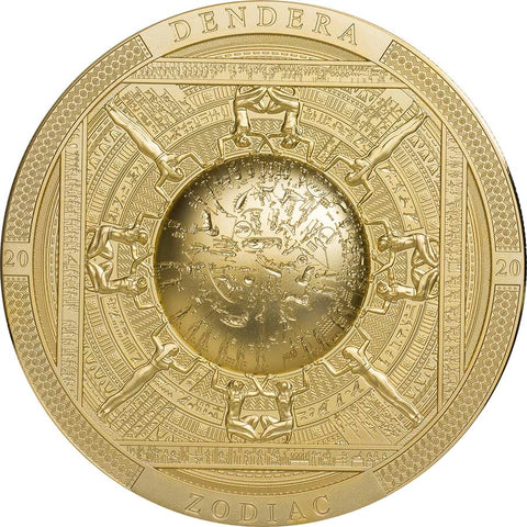 2020 Cook Islands 3 Ounce Dendera Zodiac High Relief Gold Gilded Silver Coin