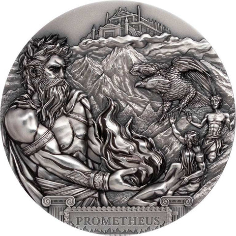 2020 Cook Islands 3 Ounce Titan Promethius Ultra High Relief Antique Finish Silver Coin