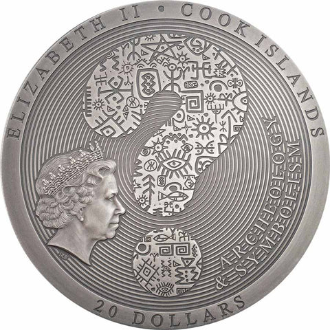 2021 Cook Islands 3 Ounce Aztec Coyolxauhqui Stone High Relief Silver Coin