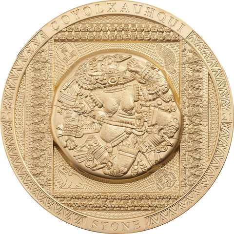 2021 Cook Islands 3 Ounce Aztec Coyolxauhqui Stone High Relief Gilded Silver Coin