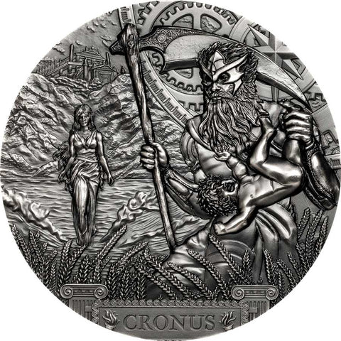 2021 Cook Islands 3 Ounce Titan Cronus Ultra High Relief Antique Finish Silver Coin