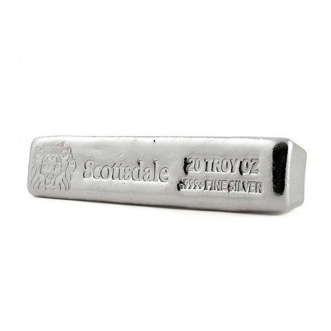 20 Ounce Scottsdale Mint CL20 .999 Cast Silver Bar