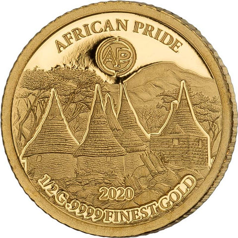 2020 African Pride 7 X 1/2 Gram Cradle of Humankind Gold Coin 2