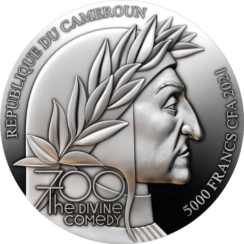 2021 Cameroon 5 Ounce Divine Comedy Paradiso High Relief Silver Coin