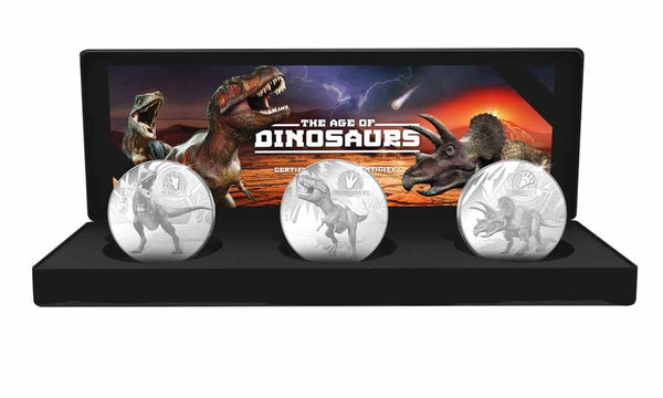 2021 SOLOMON ISLANDS 3 X 1 OUNCE DINOSAURS SILVER PROOF COIN COLLECTION