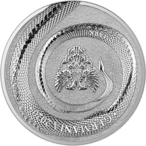 2020 Germania 1 Ounce Germania Beasts Fafnir 5 Marks Silver Round