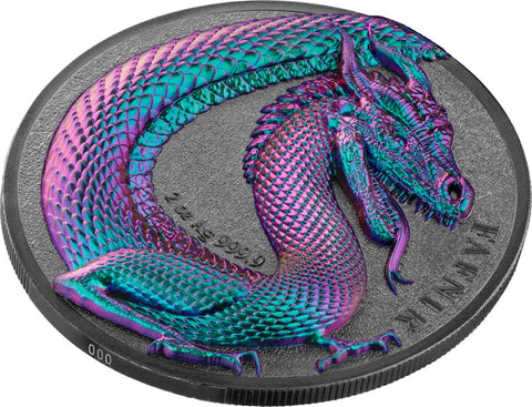"2020 Germania 2 Ounce Germania Beasts Fafnir ""Chameleon"" Silver Round"
