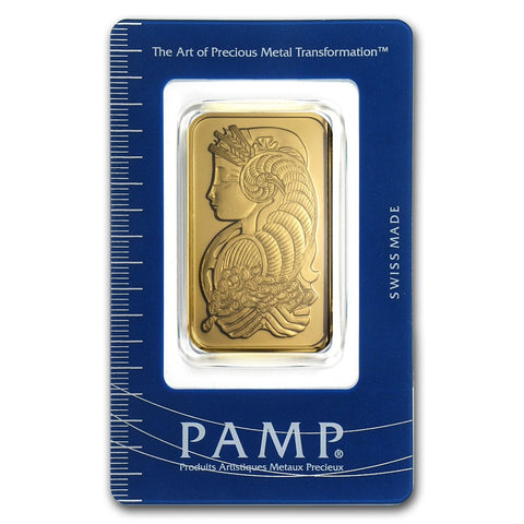 1 Ounce PAMP Lady Fortuna Gold Bar - Sealed Assay - Art in Coins