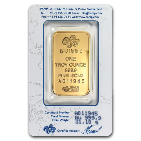 1 Ounce PAMP Lady Fortuna .9999 Gold Bar - Sealed Assay