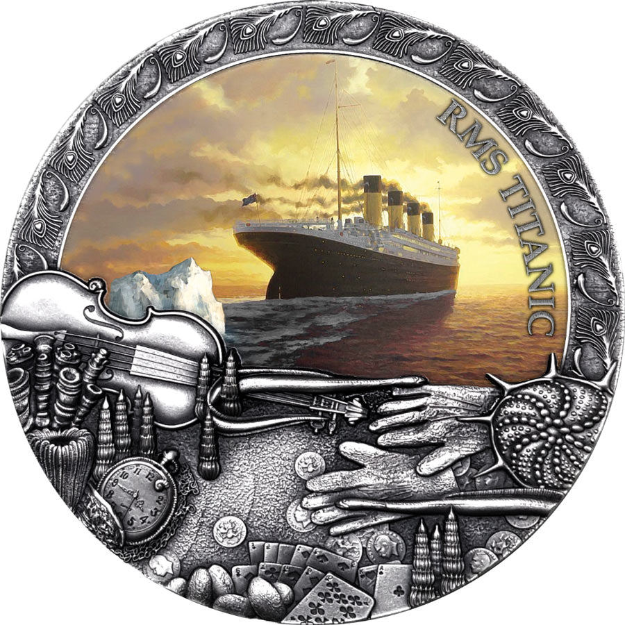 2020 Niue 2 Ounce Titanic Grand Shipwrecks Color High Relief Silver Coin