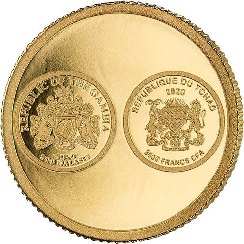 2020 African Pride 7 X 1/2 Gram Cradle of Humankind Gold Coin Chad Gambia