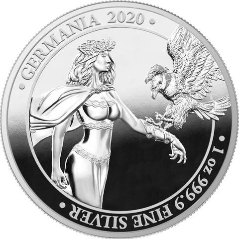 2020 Germania 1 Ounce Lady Germania 5 Marks .9999 Silver Proof Round